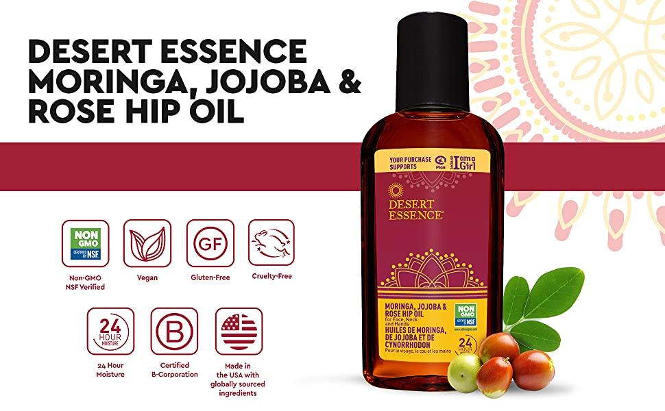 Desert Essence Moringa Jojoba Rose Hip Oil,Moringa Jojoba Rose Hip Oil
