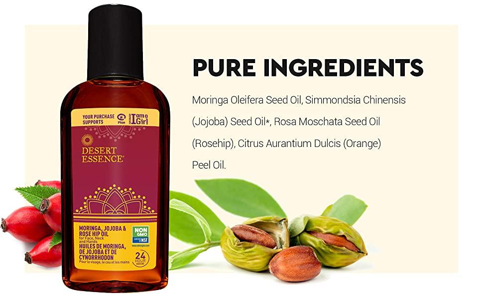 Desert Essence Moringa Jojoba Rose Hip Oil Ingredients