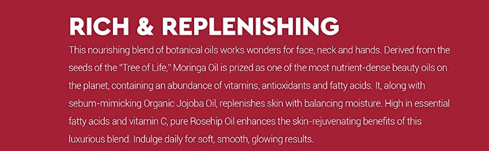 Desert Essence Moringa Jojoba Rose Hip Oil Description