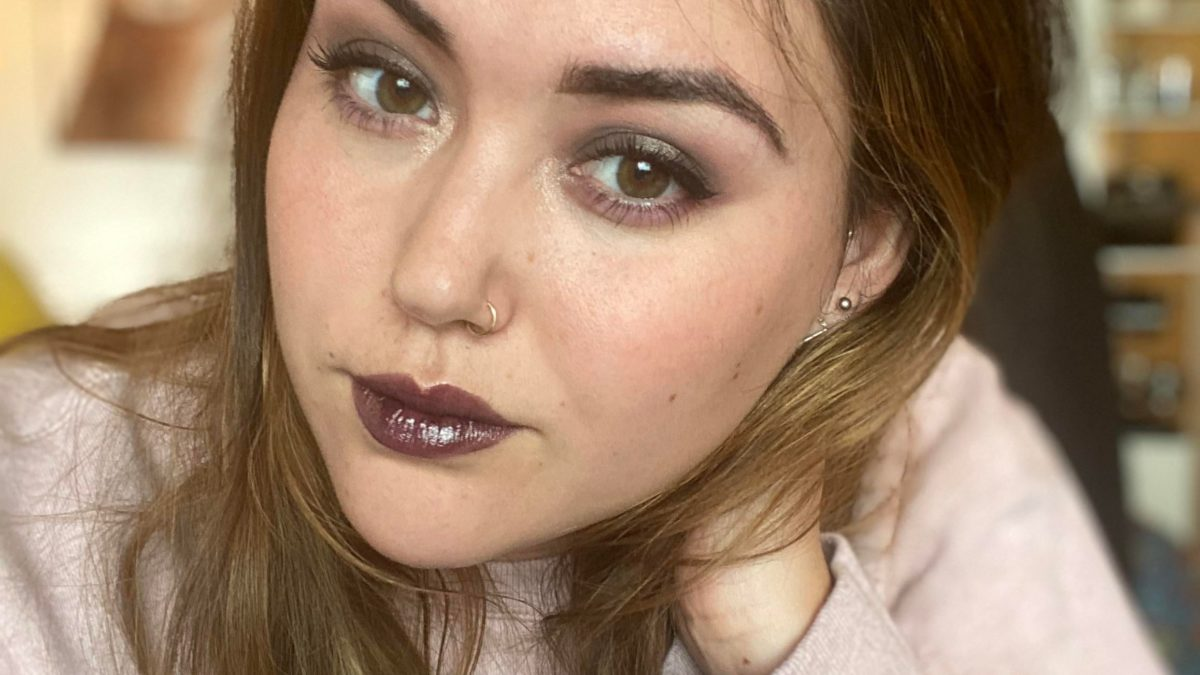 Outside of my comfort zone with a darker look.  Totally reasonable makeup to make ethical visions in my pajamas, right?