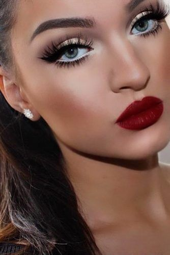 cute makeup ideas with red lipstick