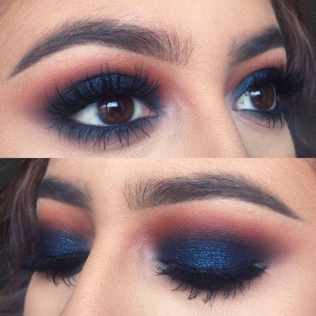 eyeshadow ideas for navy blue dress