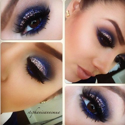makeup ideas for prom blue dress