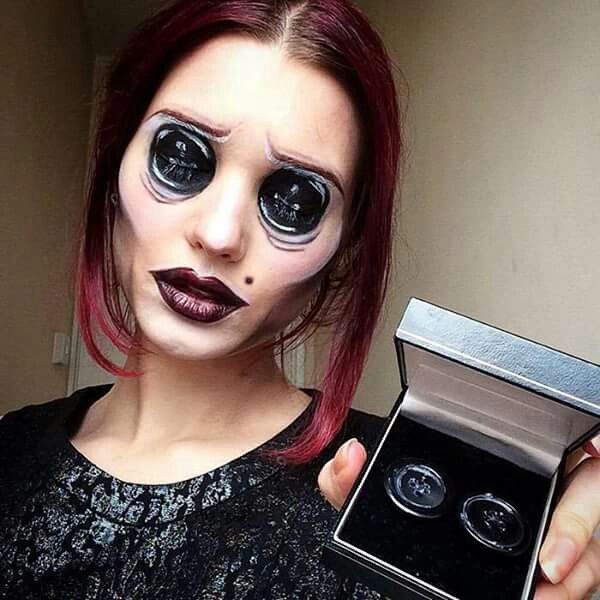 scary makeup ideas with button eyes