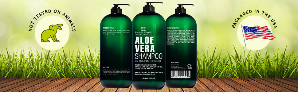 botanic hearth aloe vera shampoo natural tea tree essential oil scalp hair dandruff dry flaky best