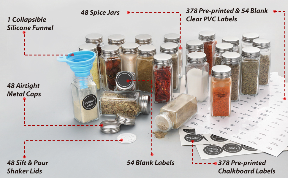 spice jars with label